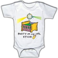 Party at my crib, BYOB - Funny Baby One-piece Bodysuit