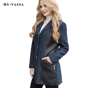 Women Coat New Autumn Spring Ladies Jacket Faux Leather Coat Wool Optic Warm Outerwear