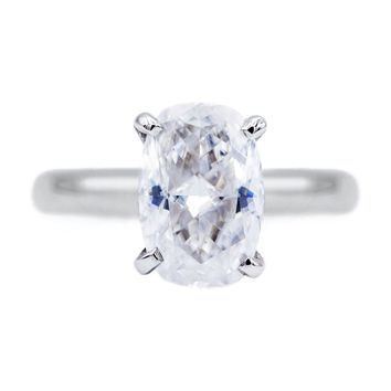 **NEW** Skinny Cushion First Crush FAB Moissanite 4 Prongs FANCY Solitaire Ring