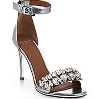 Givenchy - Monia Metallic Leather Sandals - Saks Fifth Avenue Mobile