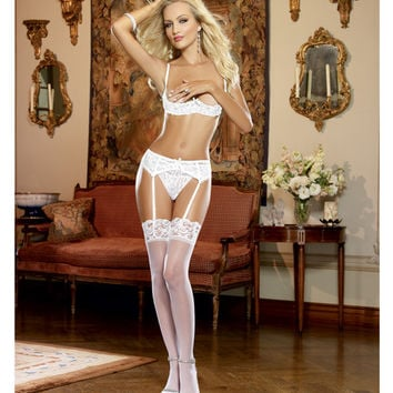 Stretch Lace Open Cup Underwire Shelf Bra White