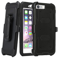 Apple iPhone 7 Plus Case / Triple Protection 3-1 w/ Built in Screen Protector Heavy Duty Rotating Swivel Holster Shell Combo Case for iPhone 7Plus - Black