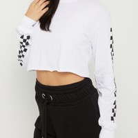 White Checkered Sleeve Crop Tee | Long Sleeve Graphic Tees | rue21