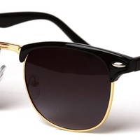 MJ Boutique's Classic Iconic Style Half Frame Horn Rimmed Sunglasses (Black Gold/Smoke)