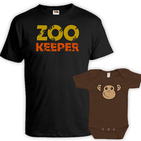 Matching Father And Baby Matching Father Son Shirts Father Daughter Matching Shirts Gifts For New Dad Zookeeper Monkey Bodysuit MAT-732-734