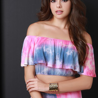 Colorblock Tie Dye Ruffle Off-The-Shoulder Crop Top