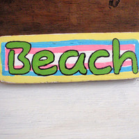 Colorful shabby chic beach sign-Wooden beach sign-Reclaimed wood beach sign-Bright beach decor-Tropical beach sign-Hand painted beach sign