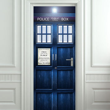 """Door STICKER Tardis Doctor Dr Who Police box movie magical mural decole film self-adhesive poster 30x79""""(77x200 cm) /"""