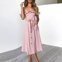 Sexy Off Shoulder Long Dress Women Party Maxi Dress Empire Sashes Midi Dress