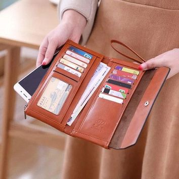 Women Trifold Oil Wax Leather Multi-Function Wallet