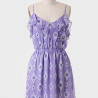 Cave Of Wonders Printed Dress In Lilac