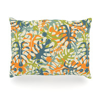 "Julia Grifol ""Summer Tropical Leaves"" Green Orange Oblong Pillow"