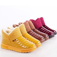 2016 New candy color  women Winter Boots waterproof snow boots fashion Fur warm ankle Boots antiskid flat boots plus size ALF246