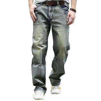2017 Fashion Mens Retro Baggy Jeans Full Length Distressed Washed Skateboard Denim Pants Plus Size 44 A1098