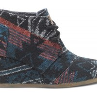 TOMS Shoes Black Jacquard Women's Desert Wedges Closed Toe Women's Heels,