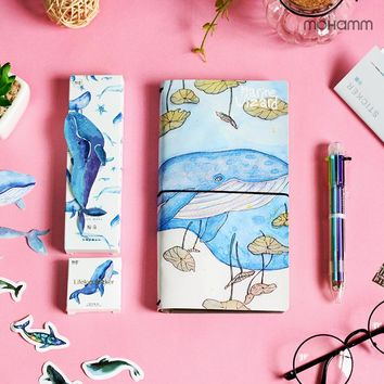 Creative Kawaii Whale Series Paper Bookmark Decorative Stickers PU Leather Notebooks Diary Stationery Office School Supply