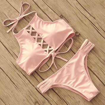 Halter Cross-Front Two-Piece Bikini