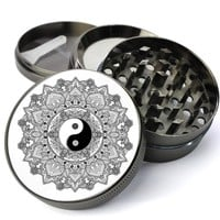 Yin Yang Mandala Extra Large 5 Piece Spice & Herb Grinder With Microfine Screen
