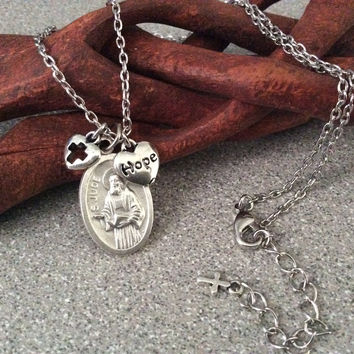 Saint Jude Silver Necklace Patron Saint of Hopeless and Lost Causes Catholic Medal Trendy Inspirational