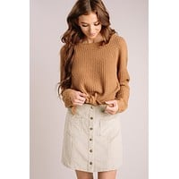 Judy Corduroy Button Mini Skirt