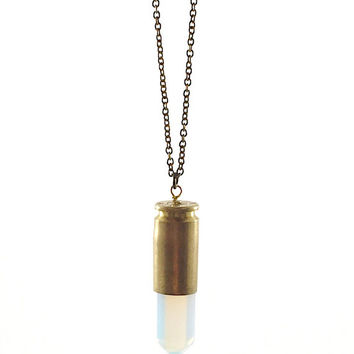 Crystal Point Necklace, Bullet Necklace, Opalite Bullet Necklace, Opal Pendant, Blue Transparent Crystal Point Pendant  (Layering Necklace)