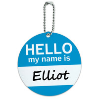 Elliot Hello My Name Is Round ID Card Luggage Tag