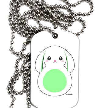 Cute Bunny with Floppy Ears - Green Adult Dog Tag Chain Necklace by TooLoud