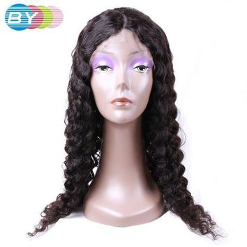 PEAP78W BY Virgin Human Hair Deep Wave Full Lace Wigs Natural Dark Color 10-24inch