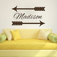 Wall Decals Custom Name Personalized Girls Name Tribal Arrow Feather Arrows Name Girls Baby Nursery Kids Wall Vinyl Decal Stickers Bedroom Murals
