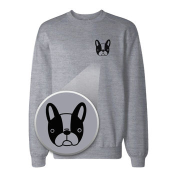 French Bulldog Pocket Print Sweatshirt Back To School Sweat Shirt