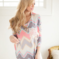 Pastel Chevron Tunic Top