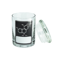 Pop Top Stash Jar - THC Molecule - Black - Writeable - 90ML