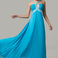 Blue Keyhole Cutout Beaded Backless Maxi Dress