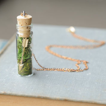 Terrarium Necklace / Arrow & Moss / Woodland Pendant / Valentine's Hunger Games Gift