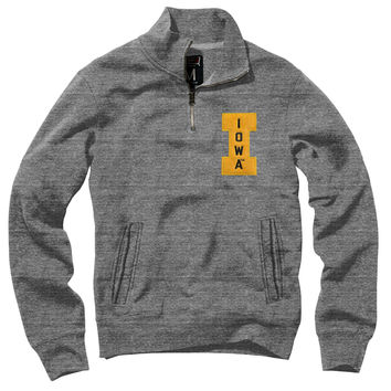 Iowa Embroidered Letterman Mock Zip Pullover