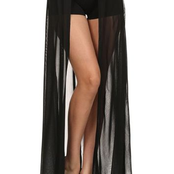 High Waist Sheer Open Front Overlay Maxi Skirt with Buttoned Faux Leather Waistband