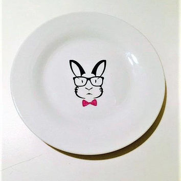 Valentines Day Plate, Bunny Wall Decor, Gift for Kids, Valentines Day Gift, Bunny Party Plate, Baby Shower Decor, Personalized Plate, Rabbit