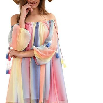 SheIn Women New Short Dresses Summer Beach Multicolor Print Long Sleeve Off The Shoulder Tassel Shift Dress