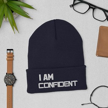 """"""" I AM CONFIDENT""""  Positive Motivational & Inspiring Quote Embroidery Cuffed Beanie"""