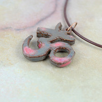 Ceramic Ohm Necklace - Handmade Ceramic Pendant - Spiritual Jewelry