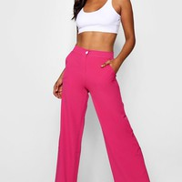 Gayle Wide Leg Contrast Stitch Trouser | Boohoo