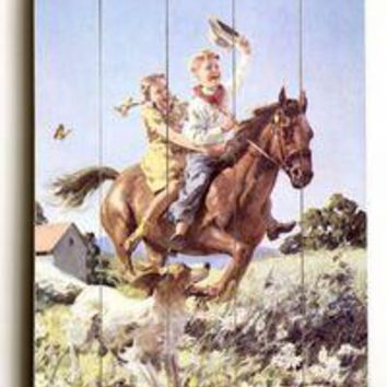 Wood Sign : Cowboy and Cowgirl Horse