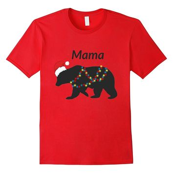 Mama Bear in Santa Hat With Christmas Tree Lights Shirt