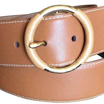 Michael Kors Women's Mk Brown Wide Gold Tone Buckle Belt Medium
