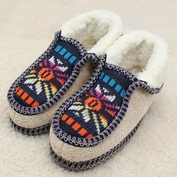 Women's Plush Lined Knitted Home Moccasin Slippers