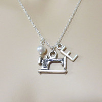 Sewing, Machine, Personalized, Initial, Necklace, Craft, Necklace, Crafty, Person, Jewelry, Gift, Modern, Customized, Best, Friend, Jewelry