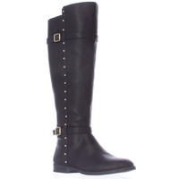I. Ameliee Wide Calf Knee High Side Studded Boots - Black