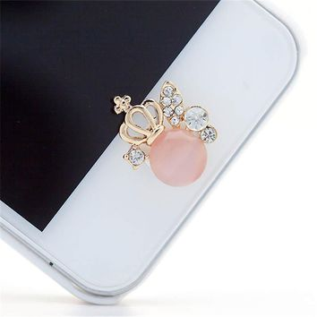 Nice Crown Design 3D Crystal Bling Diamond Home Button Sticker For iPhone July 28