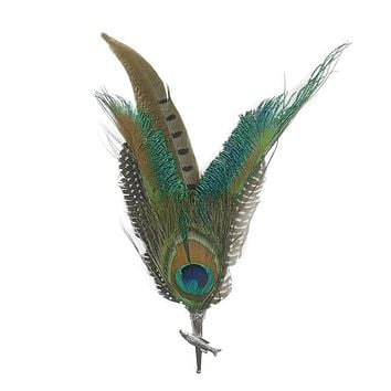 Pheasant & Peacock Hat Pin & Feathers with Fish Medallion