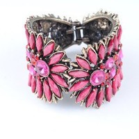 Free shipping 1PCS charm Punk Style Gem Wide Bangle Cute Bracelet rhinestone